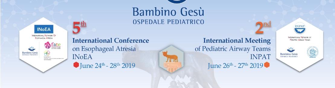 SAVE THE DATE – Conferenza Internazionale sull'Atresia esofagea a Roma a Giugno – INOEA 2019