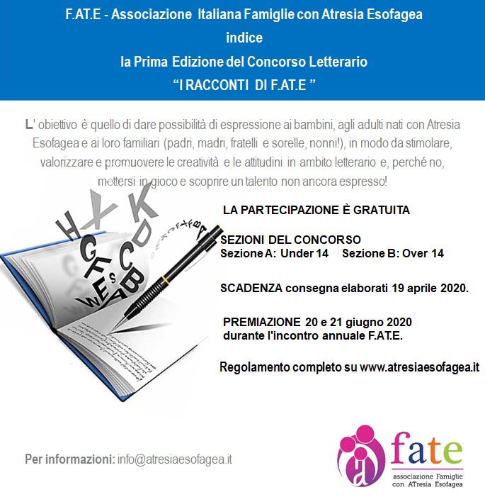 """Bando per la Prima edizione del Concorso Letterario """"I RACCONTI DI F.AT.E"""""""